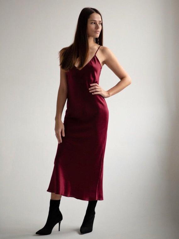 8fdb1914b27 Silk bias burgundy slip dress Silk slip maroon Narural silk slip 90s  Adjustable straps Valentines da