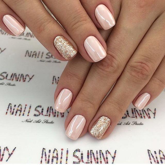 Blush and gold nails