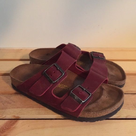 6d0673dbbc00 Red leather Birkenstocks I love these so much but they re to small on me!  Birkenstock Shoes Sandals