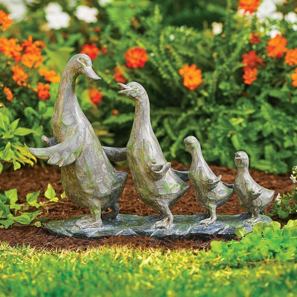 Beautiful Duck Duckling Garden Statue Outdoor Yard Lawn Family Sculpture  Decor