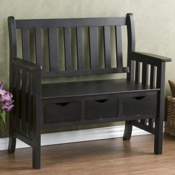Pleasant 3 Drawer Black Country Bench Indoor Benches At Hayneedle Dailytribune Chair Design For Home Dailytribuneorg