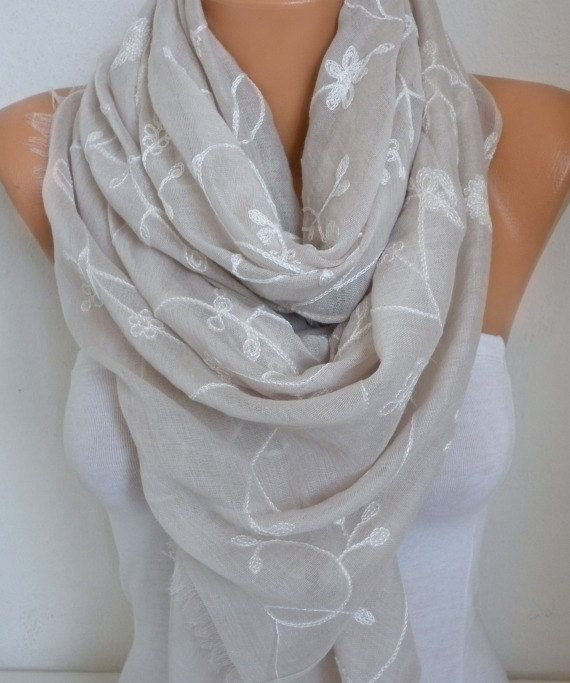 Neutral Beige Cotton Embroidered Scarf Soft Bridal by fatwoman