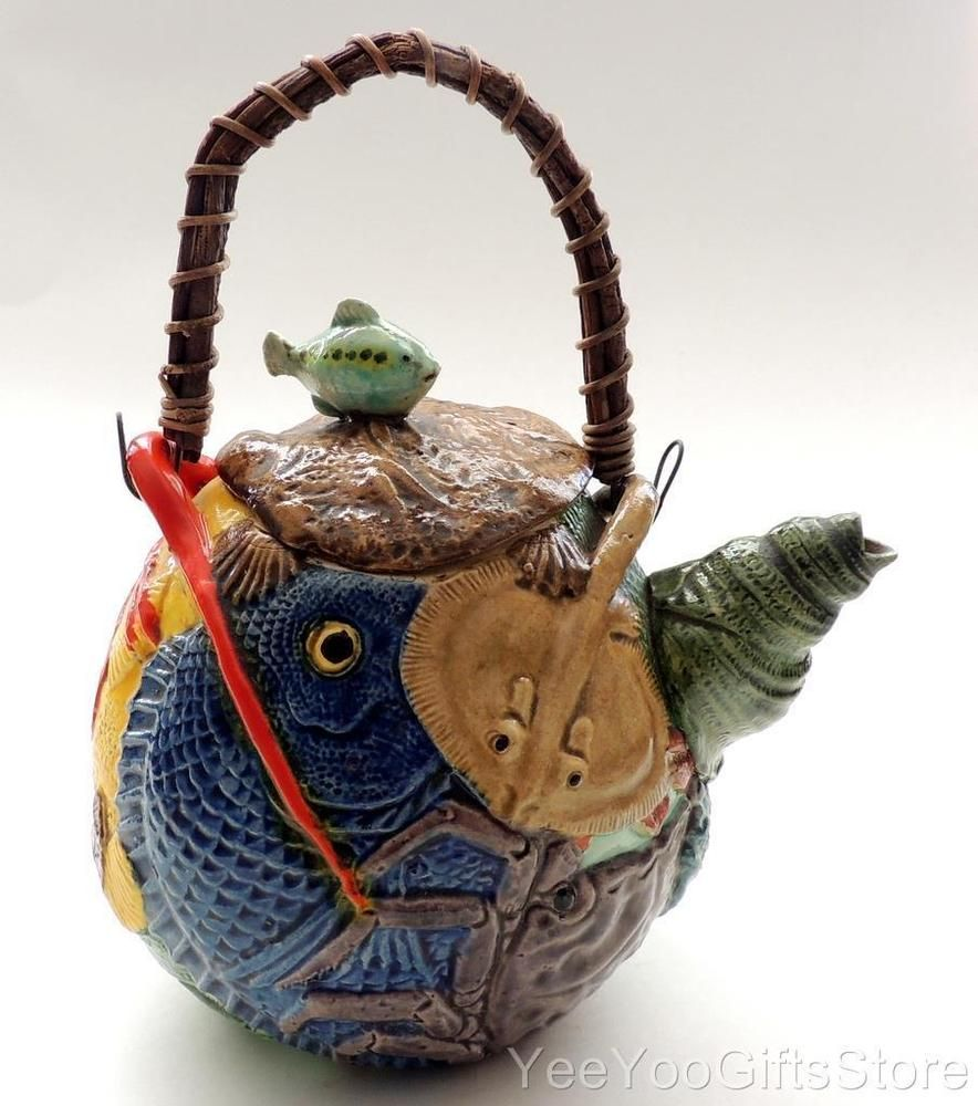 Unusual Amp Marked Japanese Pottery Banko Fish Lobster Tea