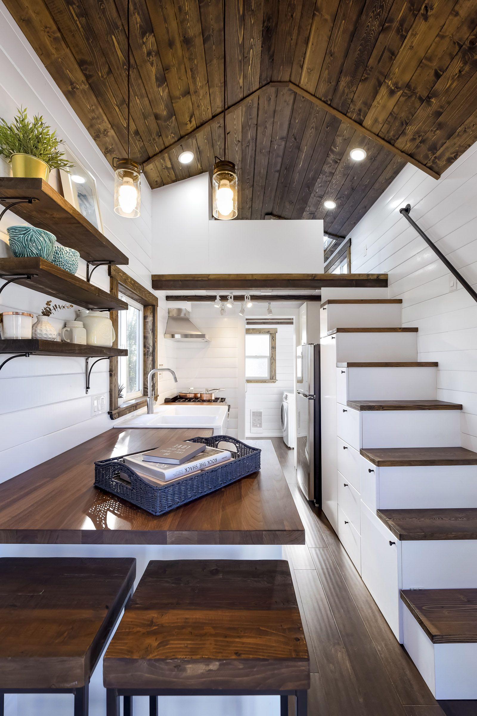 26ft Tiny Home With Split Pitch Roof And White Dark Brown Accents