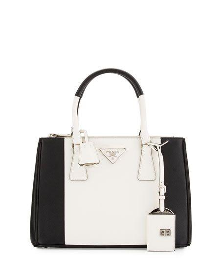 717b4eb00ecf Bicolor Saffiano Lux Tote Bag Black White (Nero Bianco)