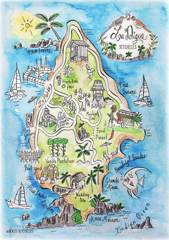 Illustrated Hand Painted Watercolor Map Print By Rootsseychelles