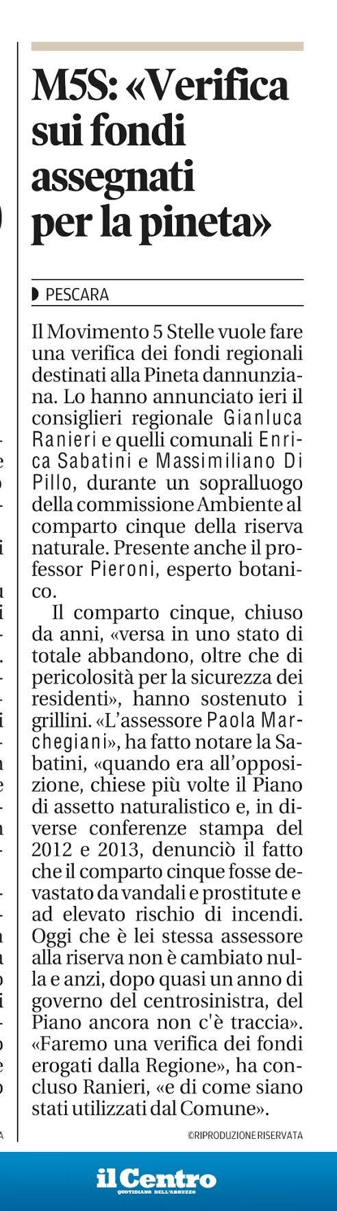 16 maggio 2015 verifica fondi per riserva dannunziana gianluca ranieri