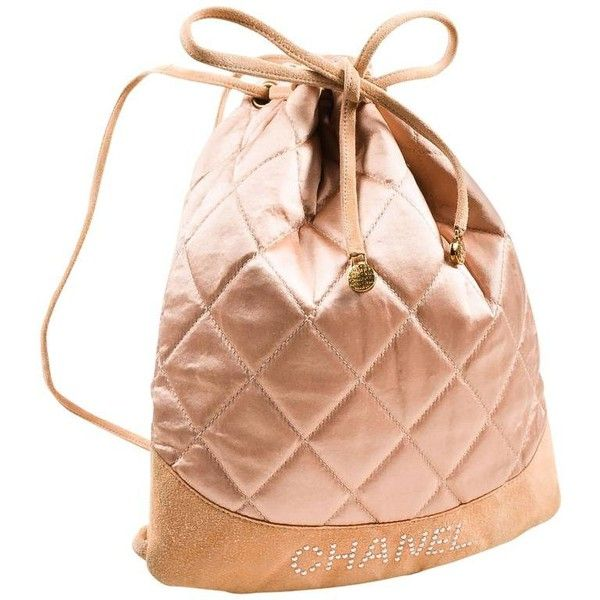 ddf4d2c1dc3284 Preowned Chanel Blush Pink Suede Satin Quilted Faux Pearl Drawstring...  ($560) ❤ liked on Polyvore featuring bags, backpacks, pink, quilted backpack,  ...