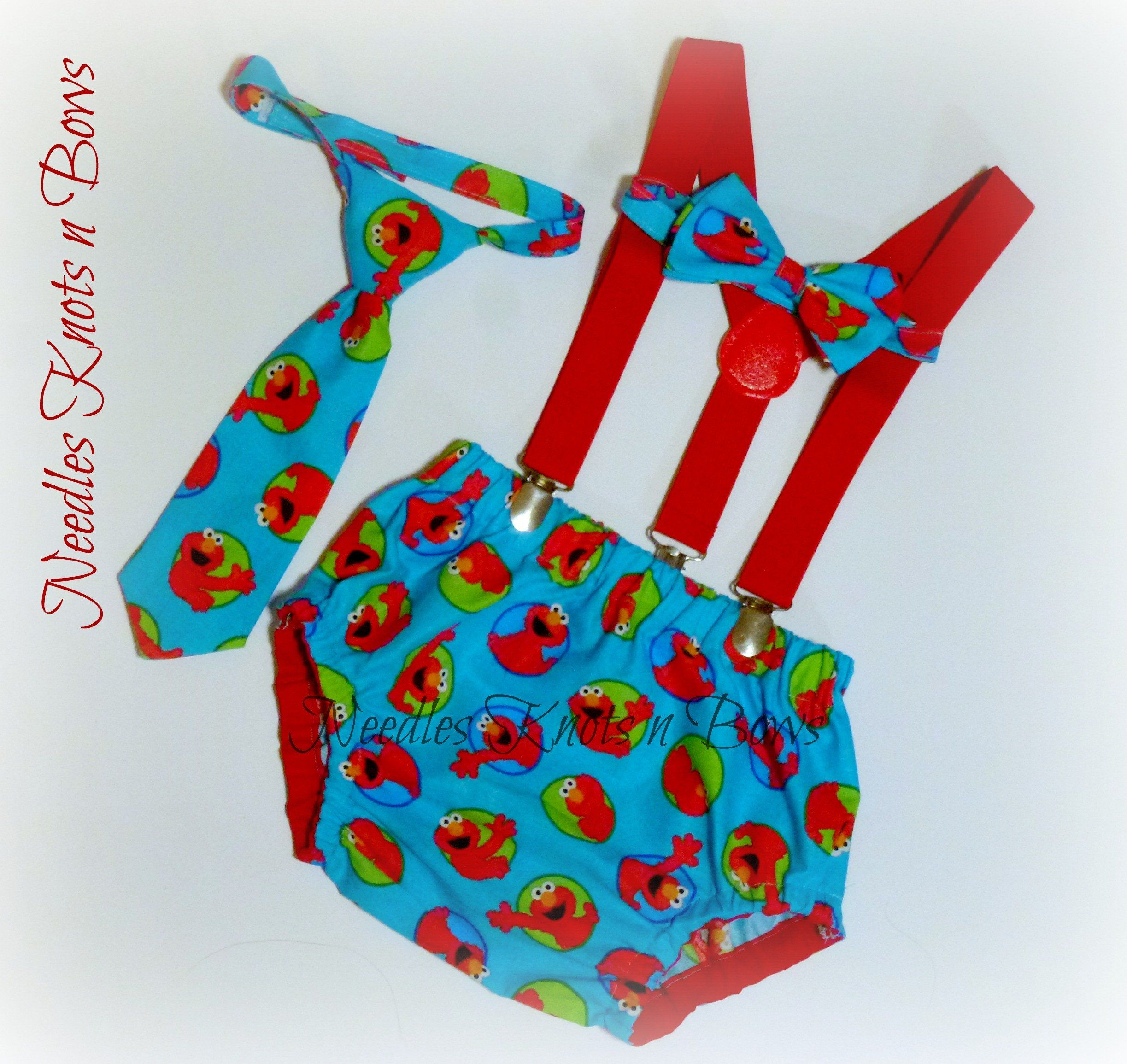 777b44505 Boys Elmo themed birthday cake smash set includes: Elmo diaper cover,  suspenders and your choice of a tie or bowtie. Matching Elmo Birthday Hat  can be added ...