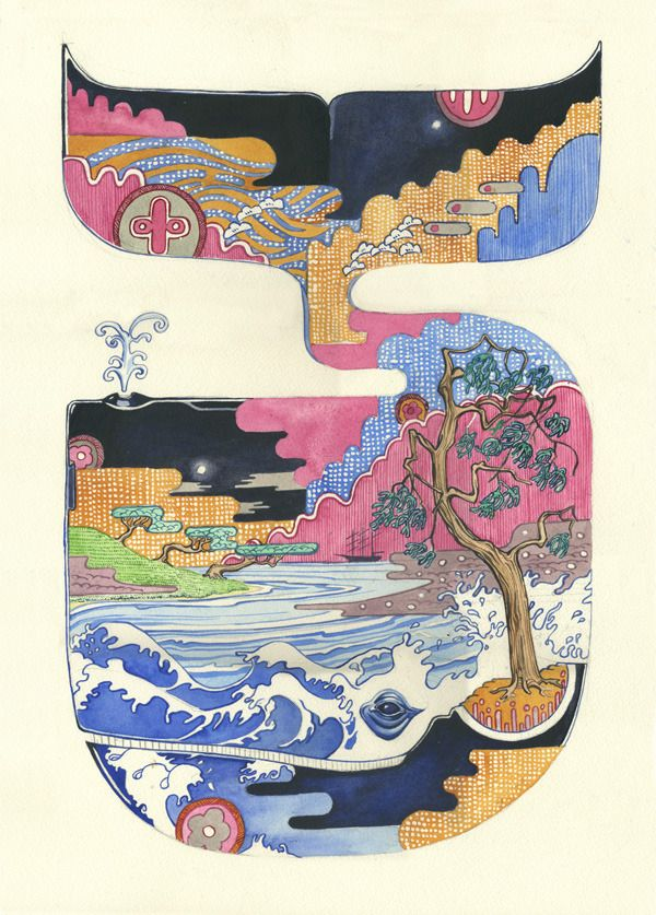 Whale - Daniel Mackie is an award-winning illustrator who started practicing his craft in 1995. He creates a prismatic/psychotropic visions in watercolor – striking and engagingly esoteric. Each animals richly colored habitat is depicted within its own form, in a style influenced by traditional Japanese prints, vintage Chinese wallpaper, and Art Deco.