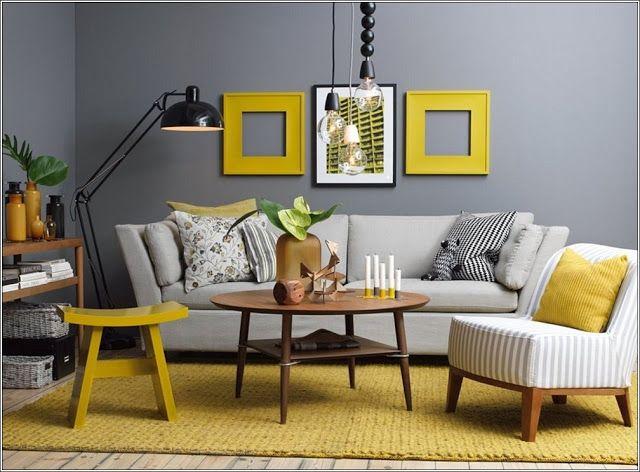 Concevez votre maison en jaune et gris! Salons, Living rooms and