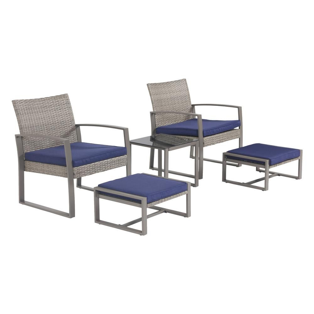 Top Home Space 5 Piece Wicker Patio Conversation Sectional Seating Set With Blue Cushions Tp09920 The Home Depot In 2021 Patio Furniture Sets Blue Cushions Seating