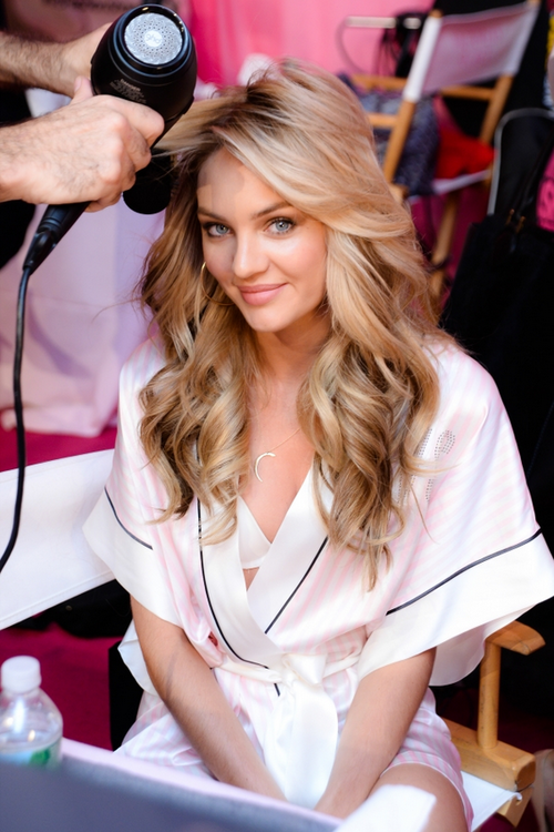 Candice Swanepoel getting hair and makeup done at the ...