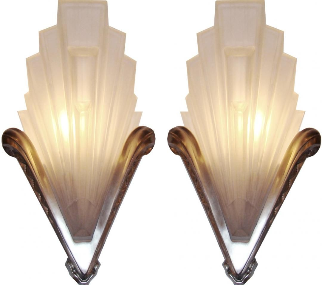 Art Deco Bathroom Wall Sconces french art deco geometric frosted glass and nickel sconces | 2