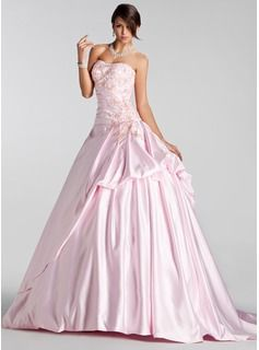 Ball-Gown Sweetheart Court Train Satin Wedding Dress With Embroidered Ruffle Beading Sequins (021005232) - JJsHouse