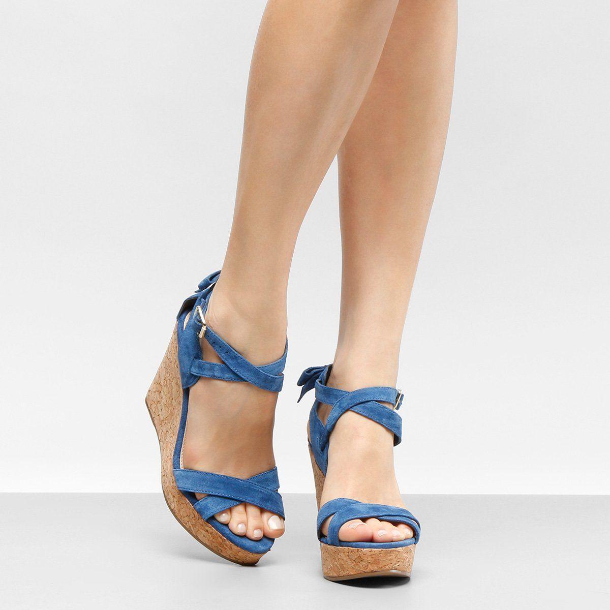 25ff252def Sandália Plataforma Couro Shoestock Laço Feminina - Azul ...