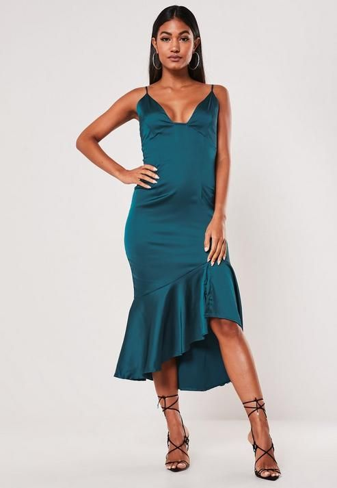 Missguided - Teal Satin Ruffle Hem Slip Midi Dress