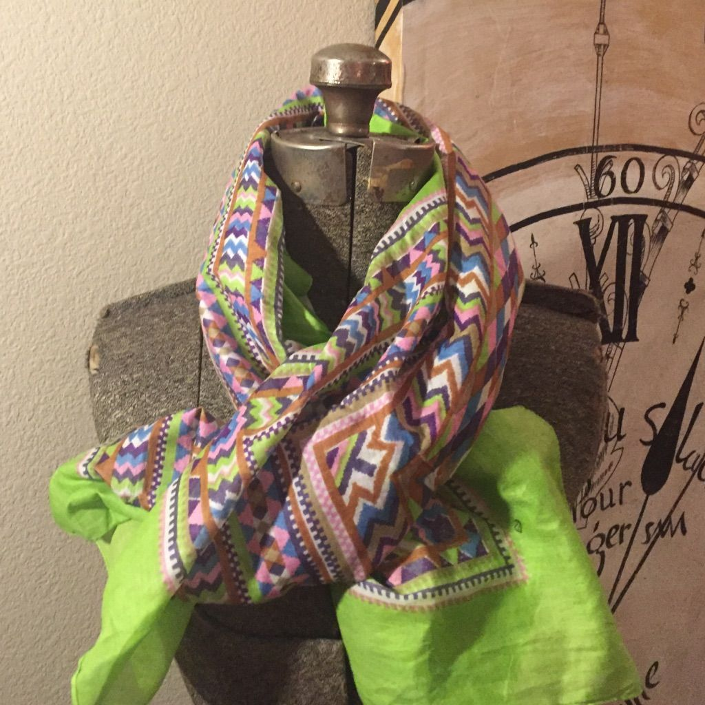 Chevron Aztec Scarf Lime Green With Pinks And Blue