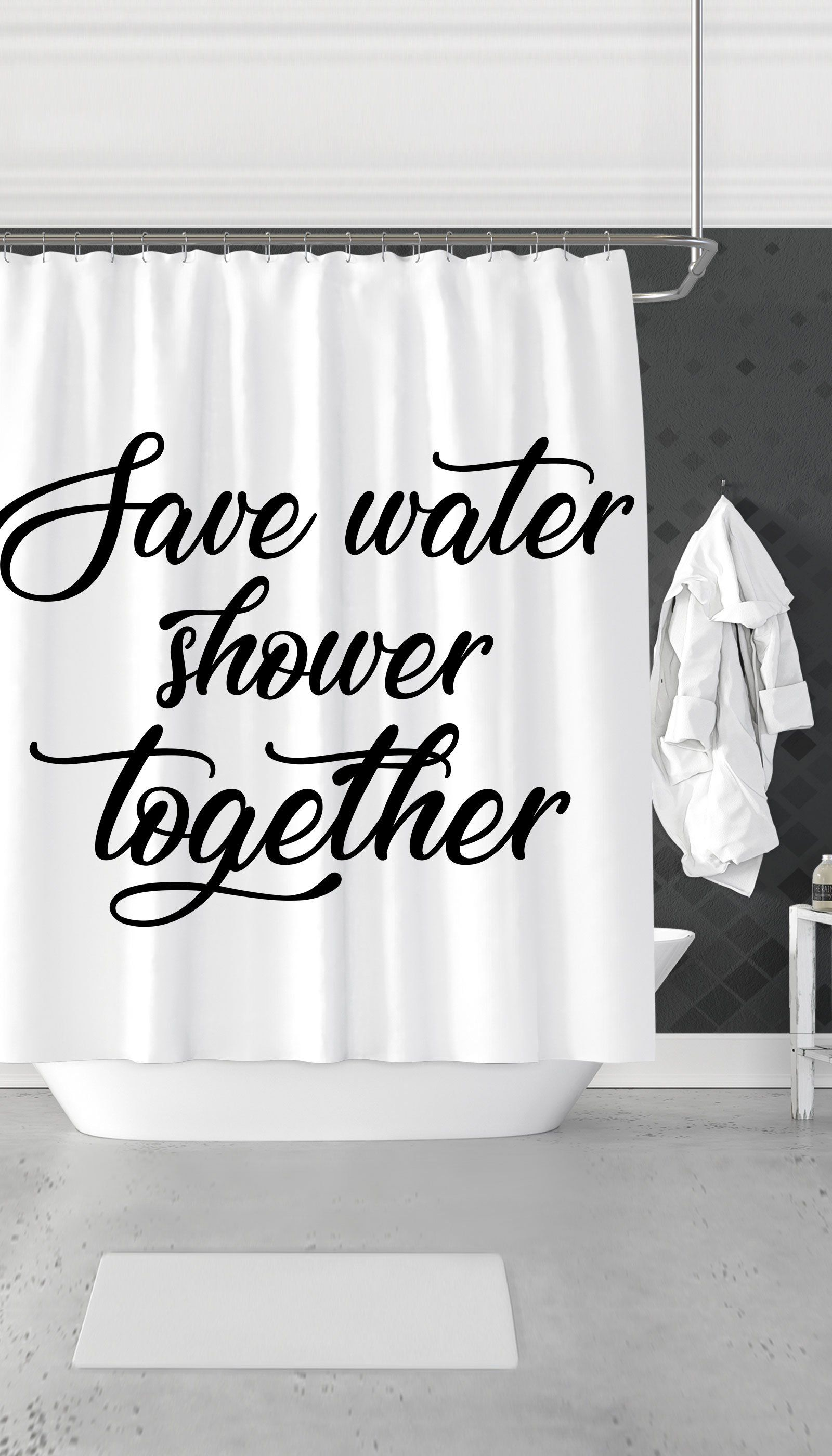 Save Water Shower Together Curtain