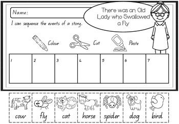 Sequencing Activity - There was an Old Lady Who Swallowed a Fly ...