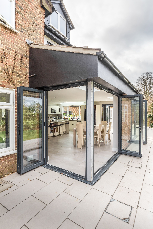 Corner Opening Sloped Rear Extension Bi Fold Doors