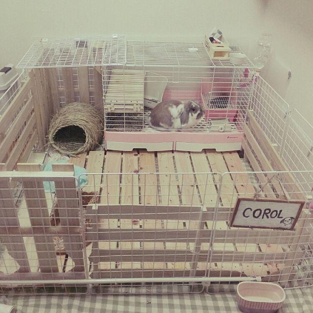 ペットと暮らす ケージのdiy術やトイレの隠し方実例 ウサギ用ハウス ウサギ 部屋 ウサギ