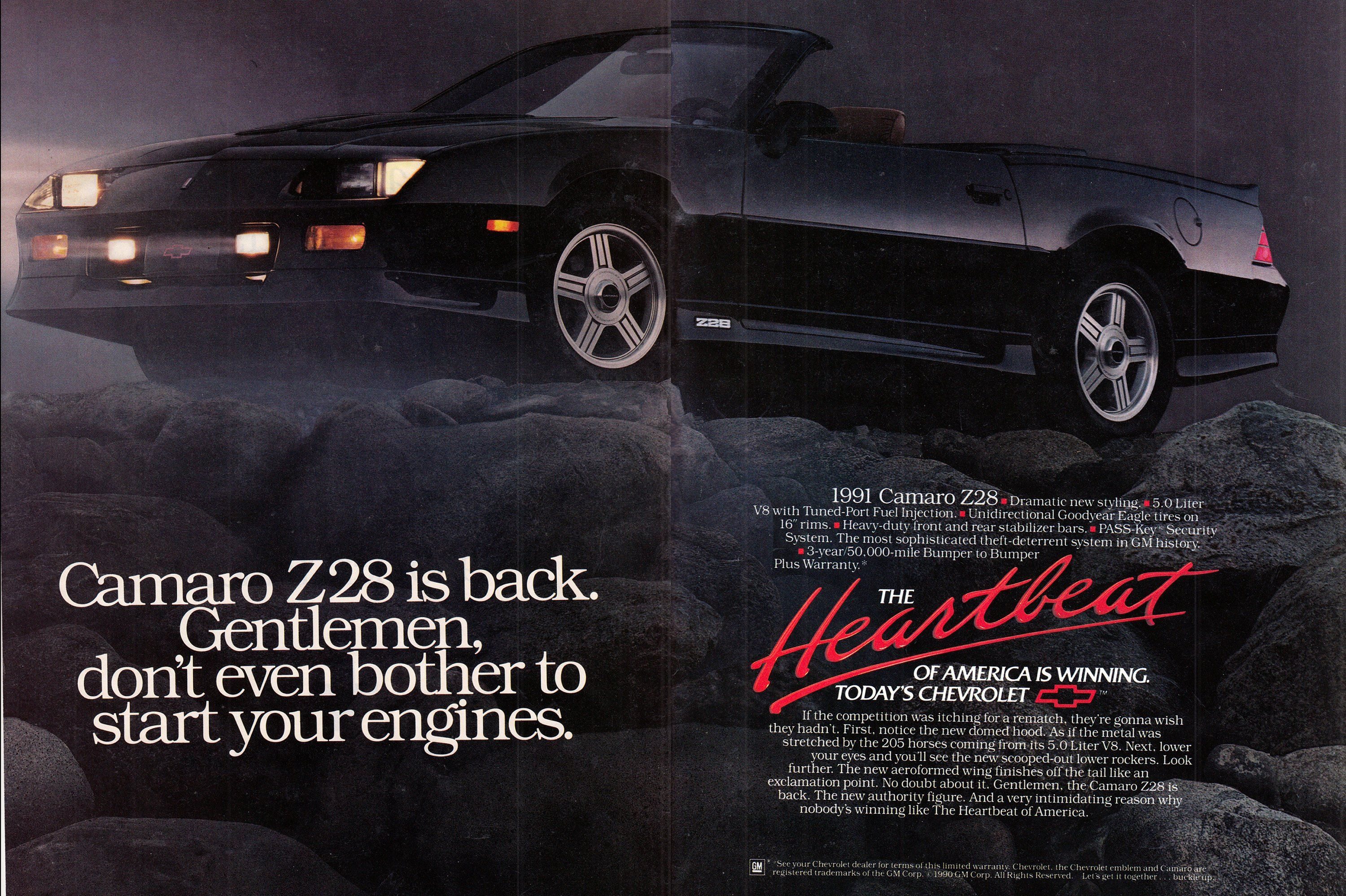 1991 Chevrolet Camero Z 28 5 Liter Fuel Injected Original 2 Page