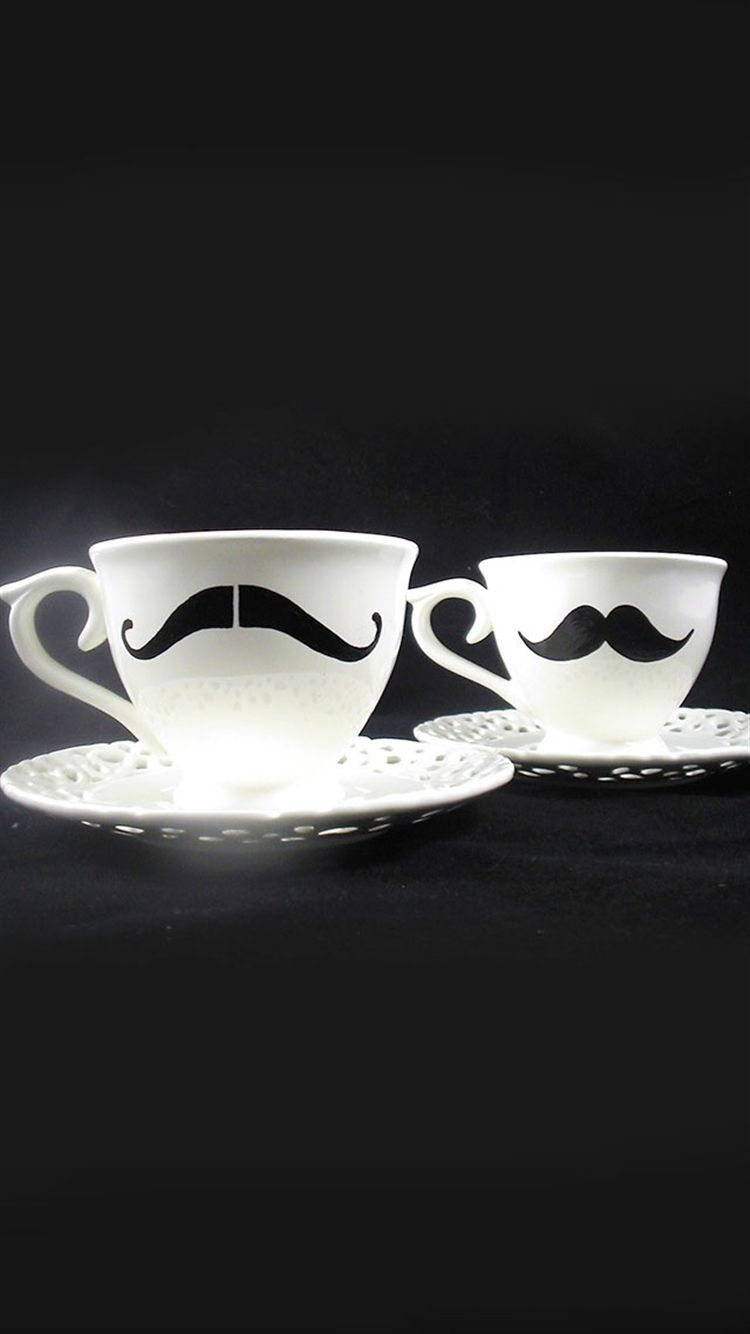 Black Beard Pattern Elegant Cups Dark Artwork IPhone Wallpaper
