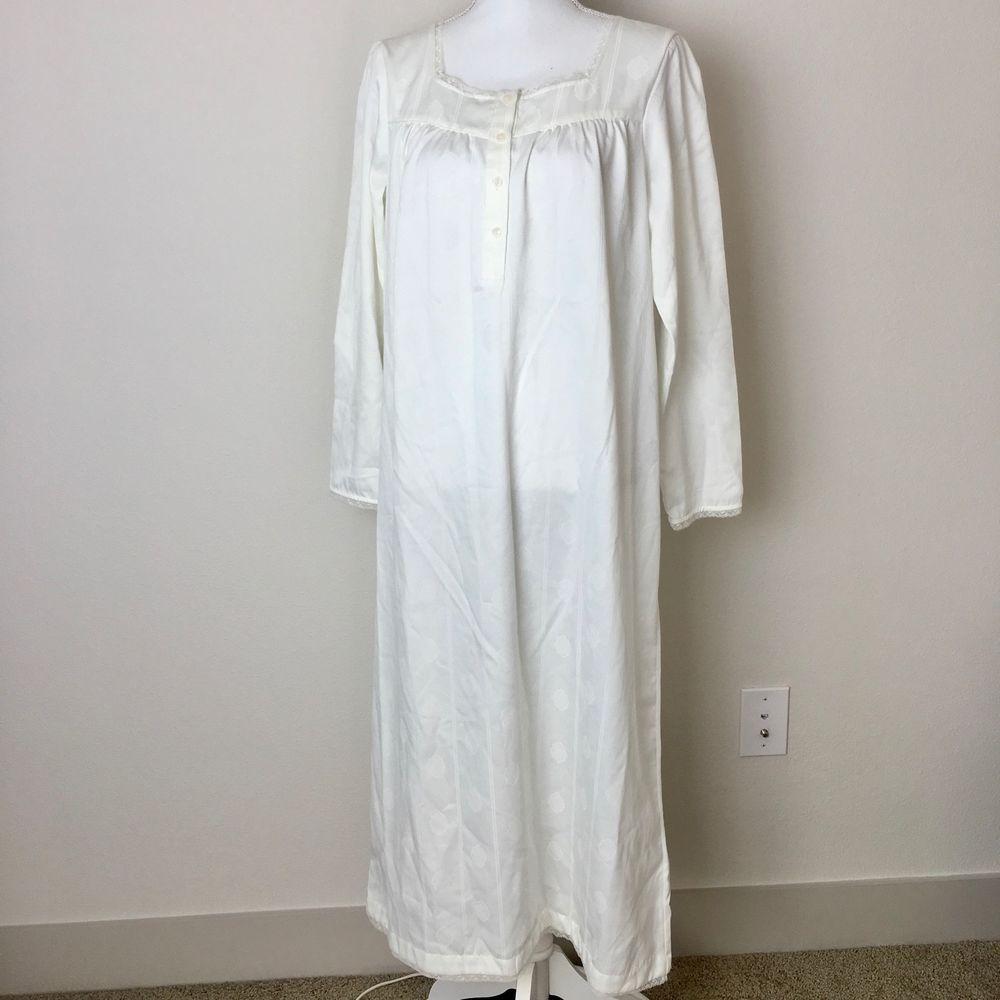 Cabernet Sleepwear Womens Size M Medium Nightgown Long Off White