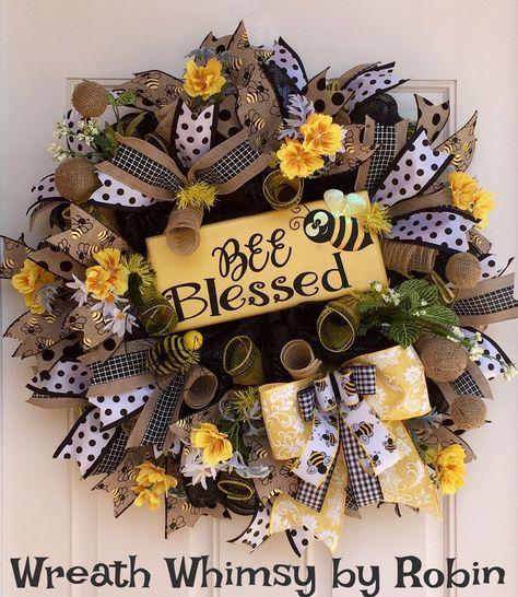 Spring Summer Deco Mesh Bumblebee Wreath With Handmade Wood Bee Blessed Sign Front Door Yellow Black
