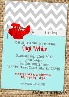Sweet Airplane Boy Baby Shower PRINTABLE Invites