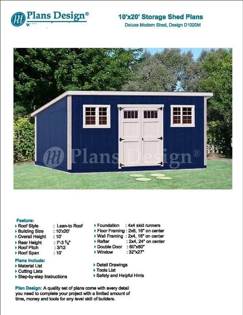 10 X 20 Deluxe Back Yard Storage Shed Project Plans Etsy In 2020 Modern Shed Shed Building Plans Backyard Storage Sheds