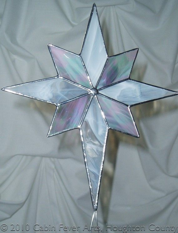 Stained Glass WHITE CHRISTMAS STAR Tree Topper - Stained Glass WHITE CHRISTMAS STAR Tree Topper Crafts Stained