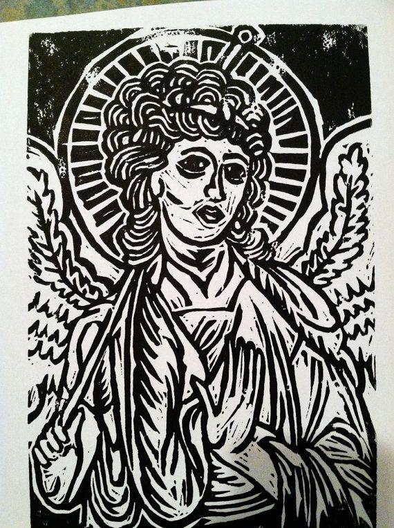 Medieval Angel Saint Linocut Print