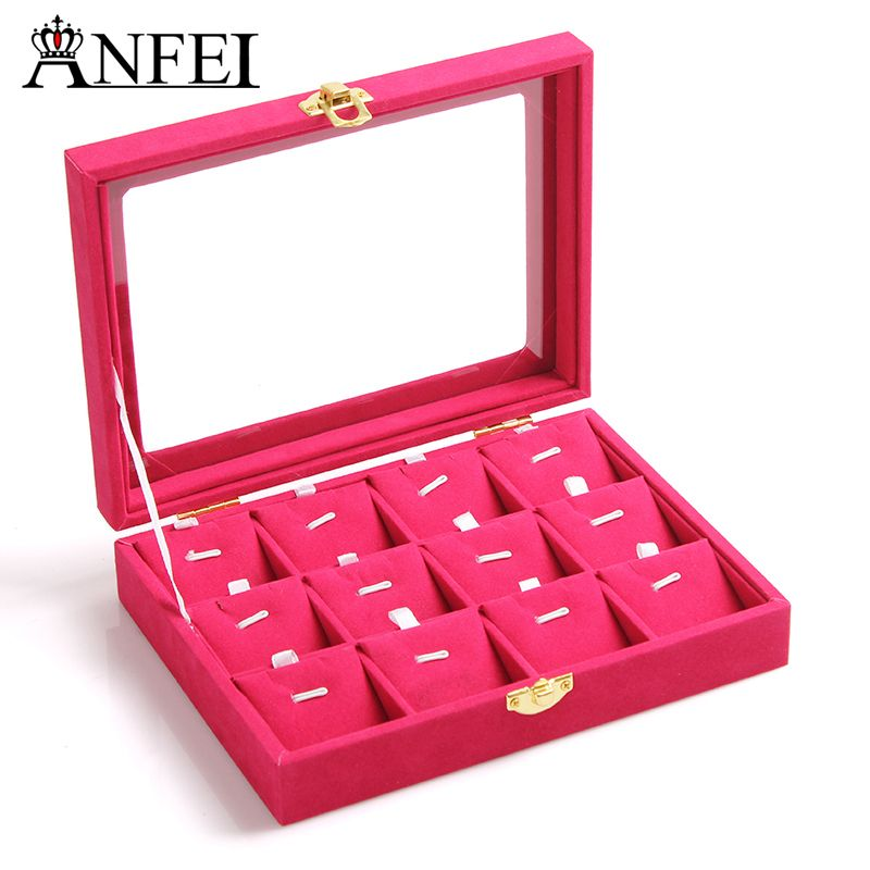 Free shipping small pendant jewelry box Glass cover receive a case