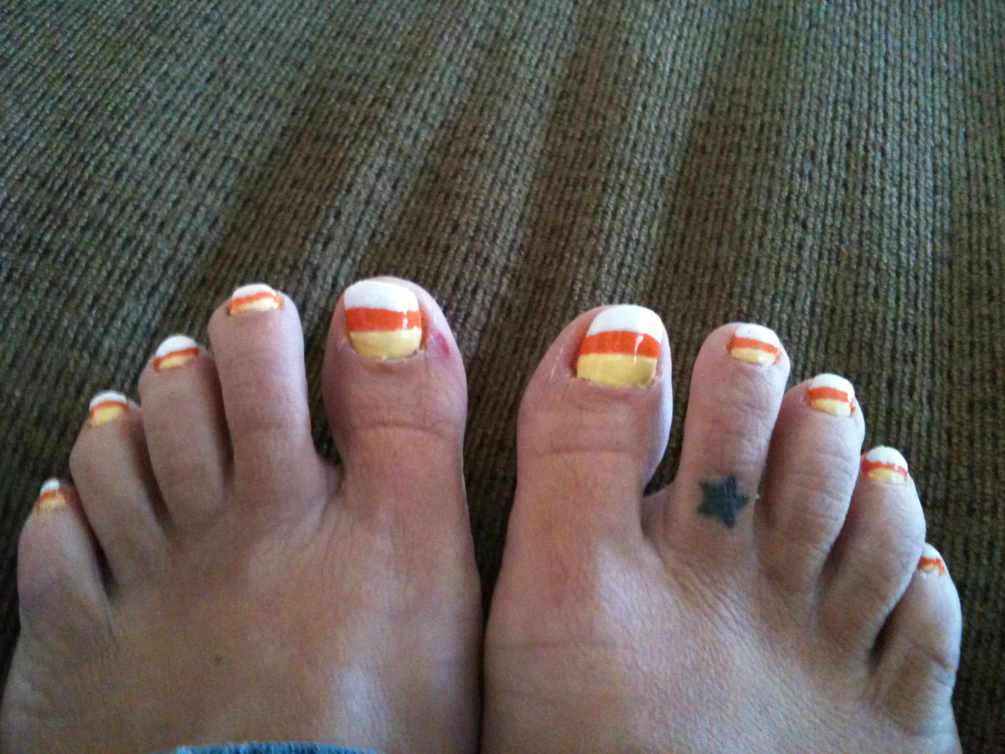 Candy Corn toenails just in time for Halloween. | Express Your Nails ...