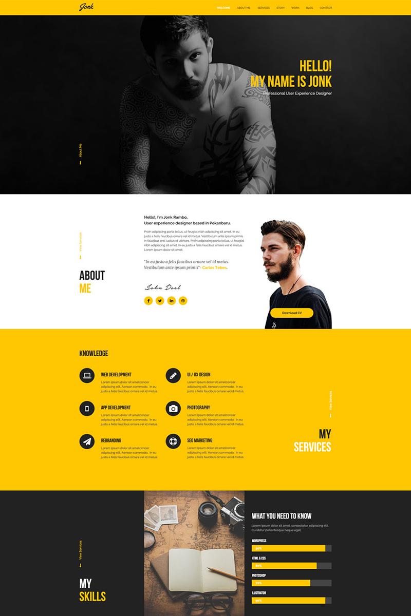 Jonk Resume Personal Psd Template 77072 Portfolio Web Design Graphic Design Resume Web Layout Design