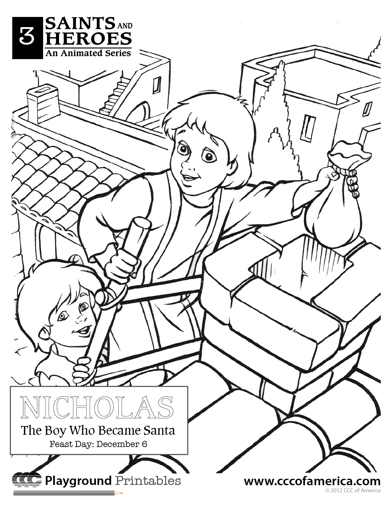 St Nicholas from the CCC movie Catholic Coloring Pages