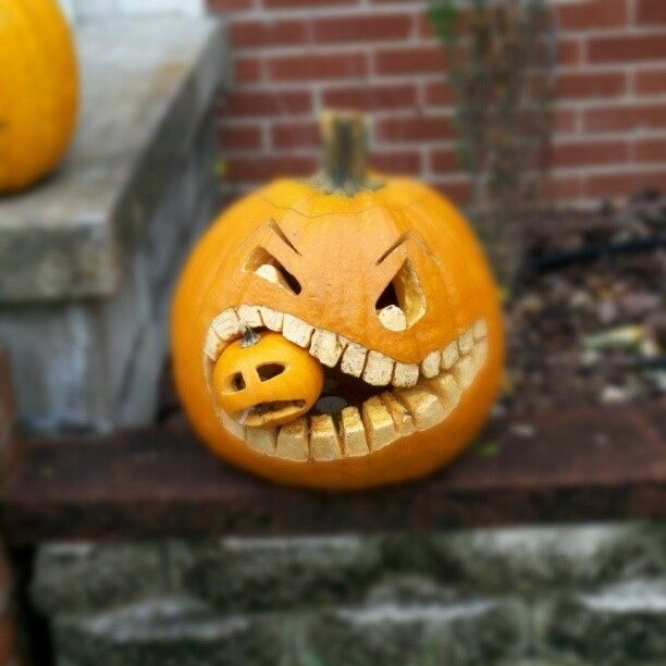 You can have a cannibal pumpkin.   21 Clever Ideas To Vastly Improve Your Halloween Pumpkins