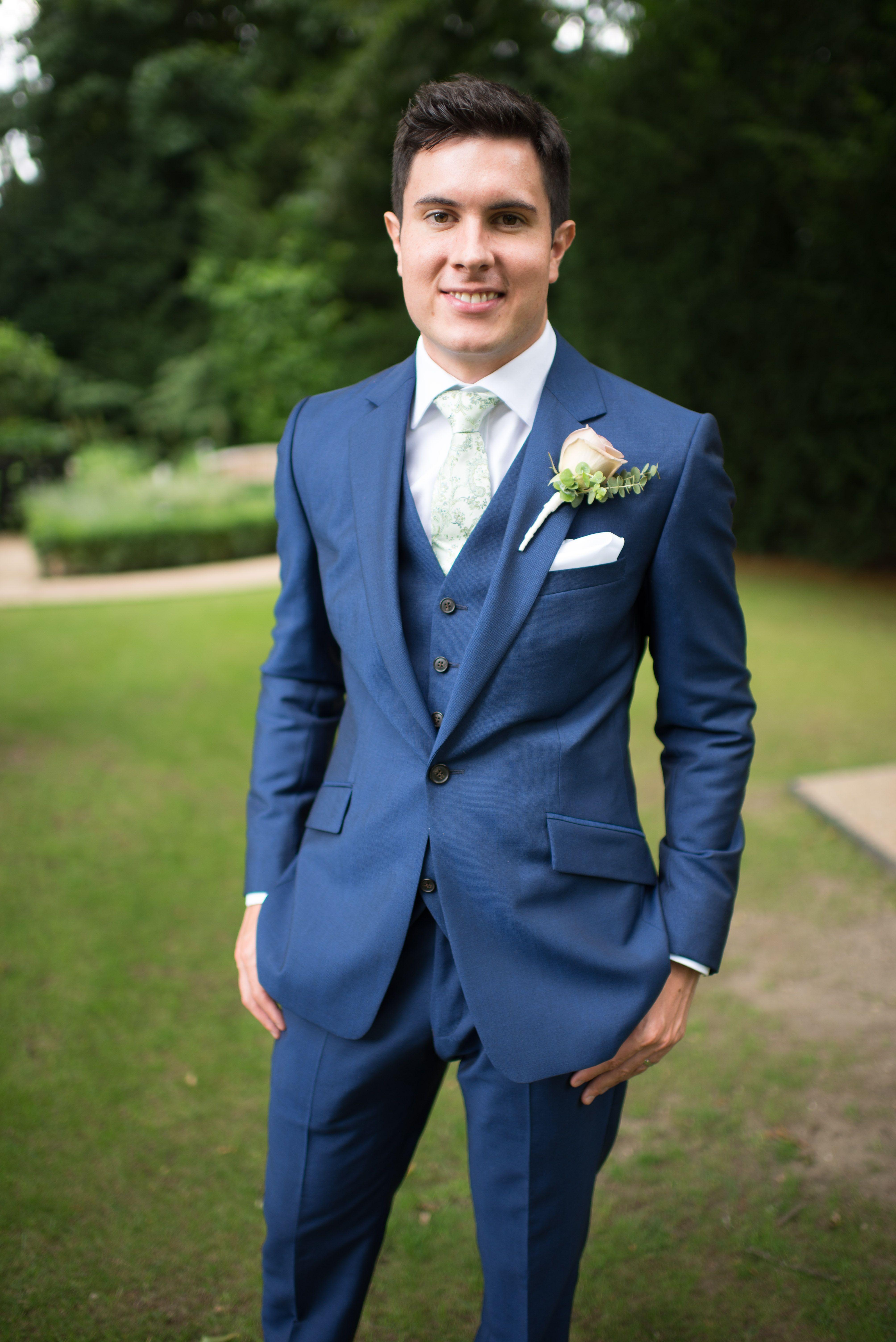 Groom Portrait Wedding Blue Suit Green Tie 3 Piece