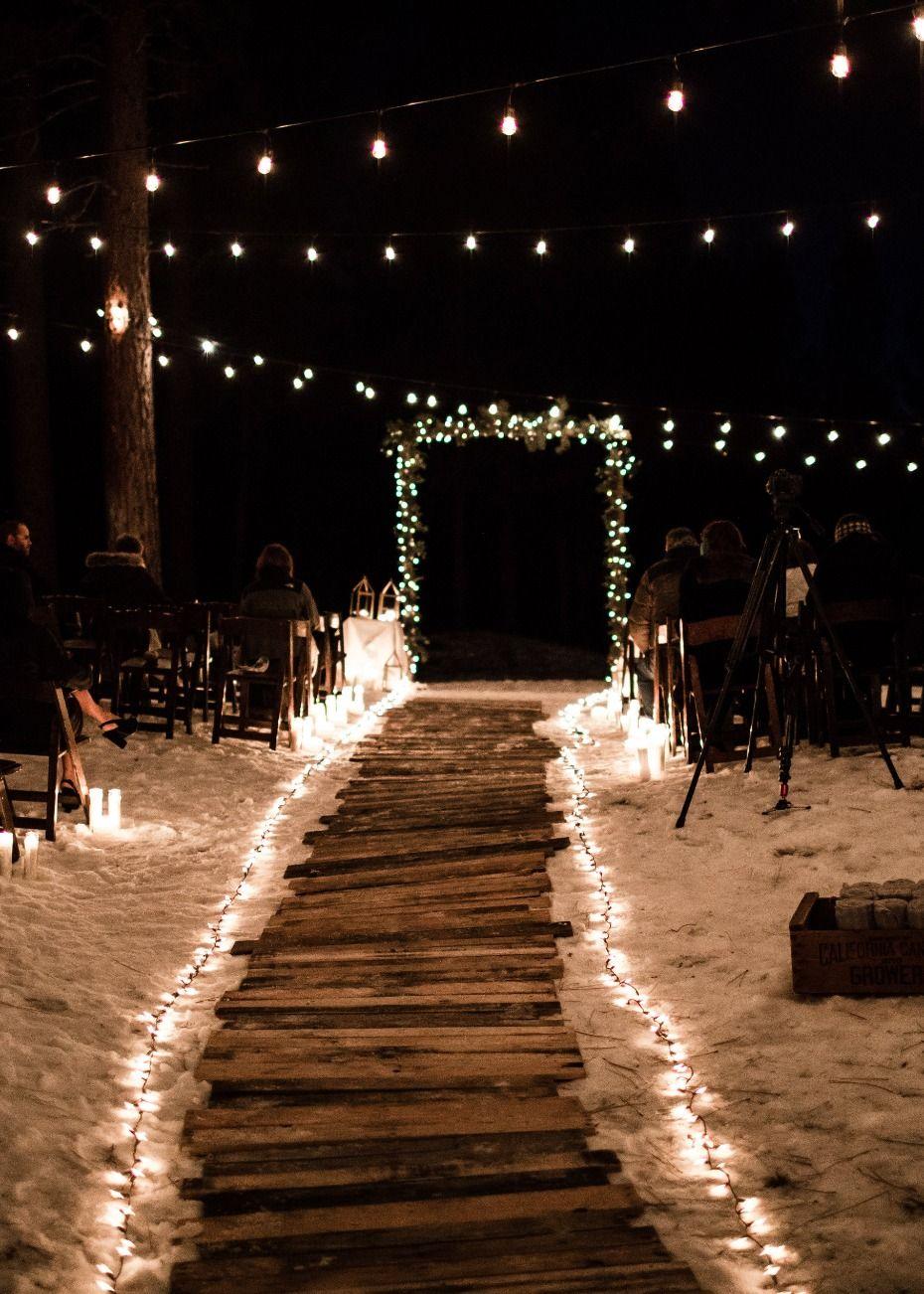 A Wintry New Years Eve Wedding Under The Stars Wedding Lights