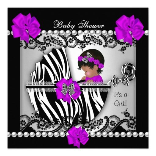 African American Baby Shower Cute Baby Girl Zebra Custom Invitations