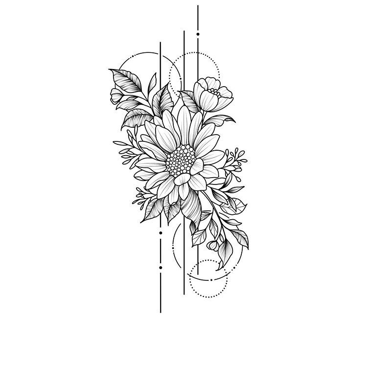 Illustration By Ellastormtattoo Blackworknow If You Would Like To Be Featured Submissions Business Inqu Geometric Flower Tattoo Storm Tattoo Flower Tattoos