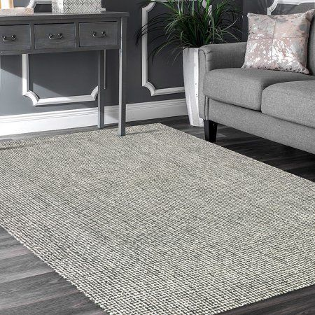 Criss Cross 8 Ft X 10 Ft Gray Wool Hand Hooked Modern Contemporary Geometric Gingham Checks Slate Basket Weave Indoor Area Rug Beige Area Rugs Area Rugs Rugs