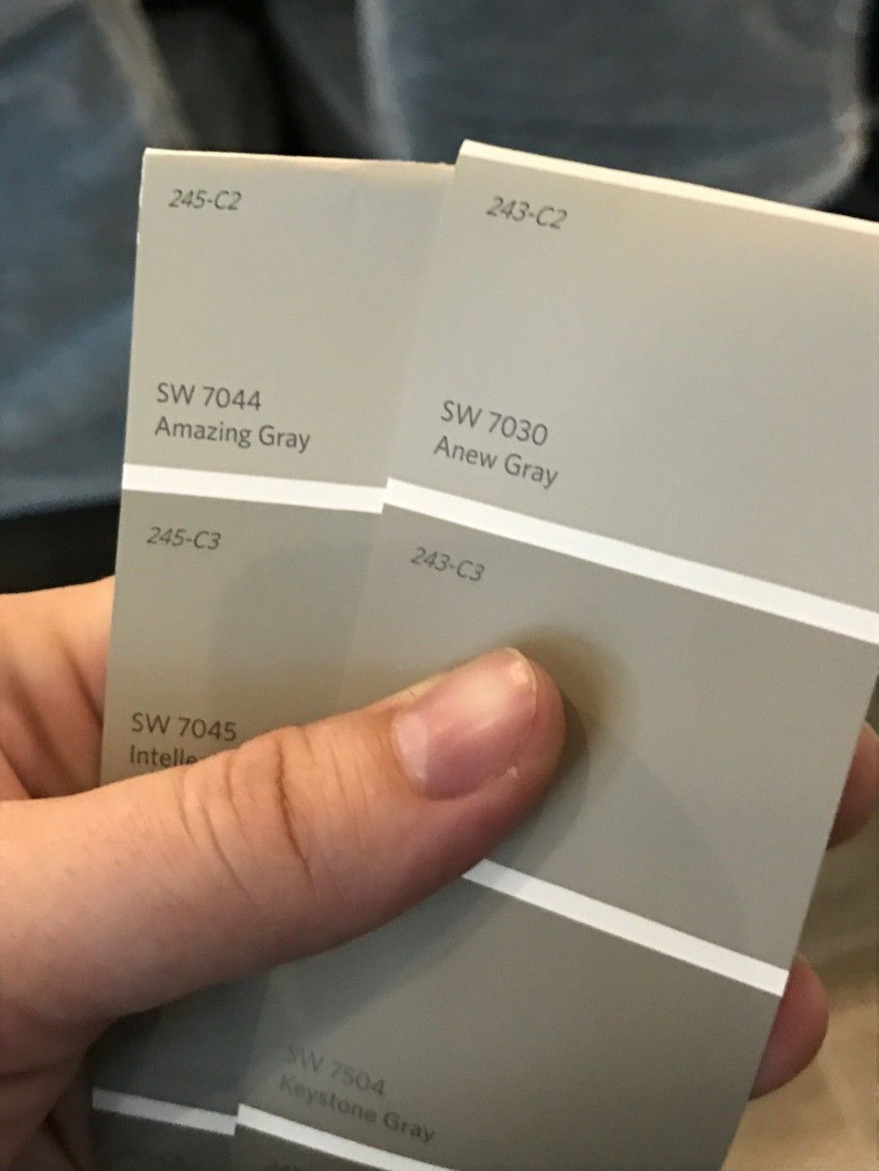 Sw 7044 Amazing Gray Sw 7030 Anew Gray Main House Paint Color Options Eggshell Or Velvet Finish Paint Colors For Home Anew Gray Amazing Grays
