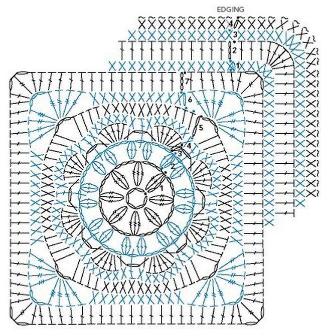 GRAFICO | crochet lily | Pinterest | Cuadrados, Ganchillo y Tejido