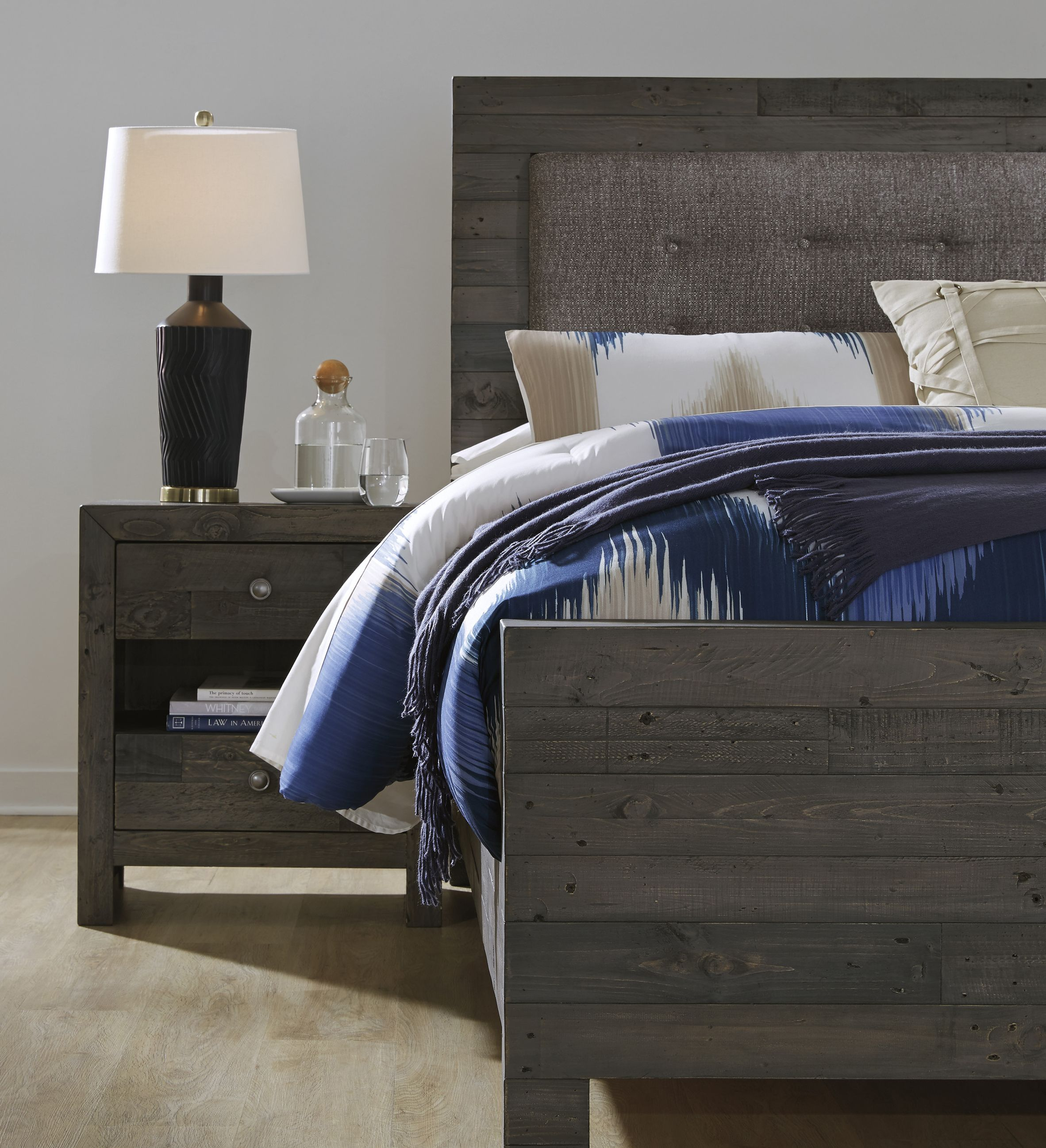 9e346319d867 Take the upholstered headboard trend and add a rustic twist! The Mayflyn  Queen Upholstered Bed