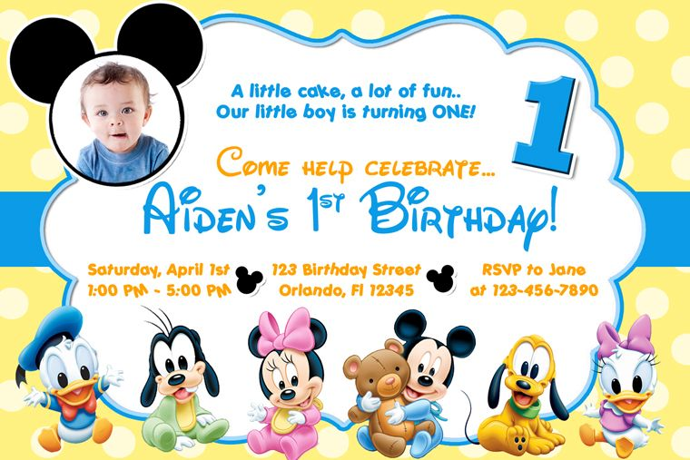 Free Printable Baby Mickey Mouse St Birthday Invitations