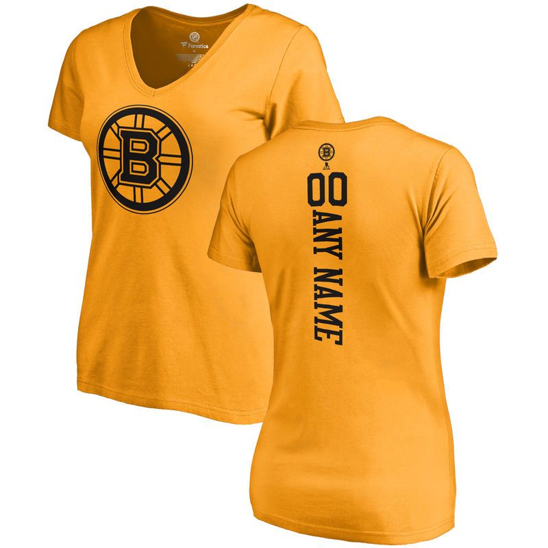 Boston Bruins Fanatics Branded Women's Personalized One Color Backer T-Shirt - Gold