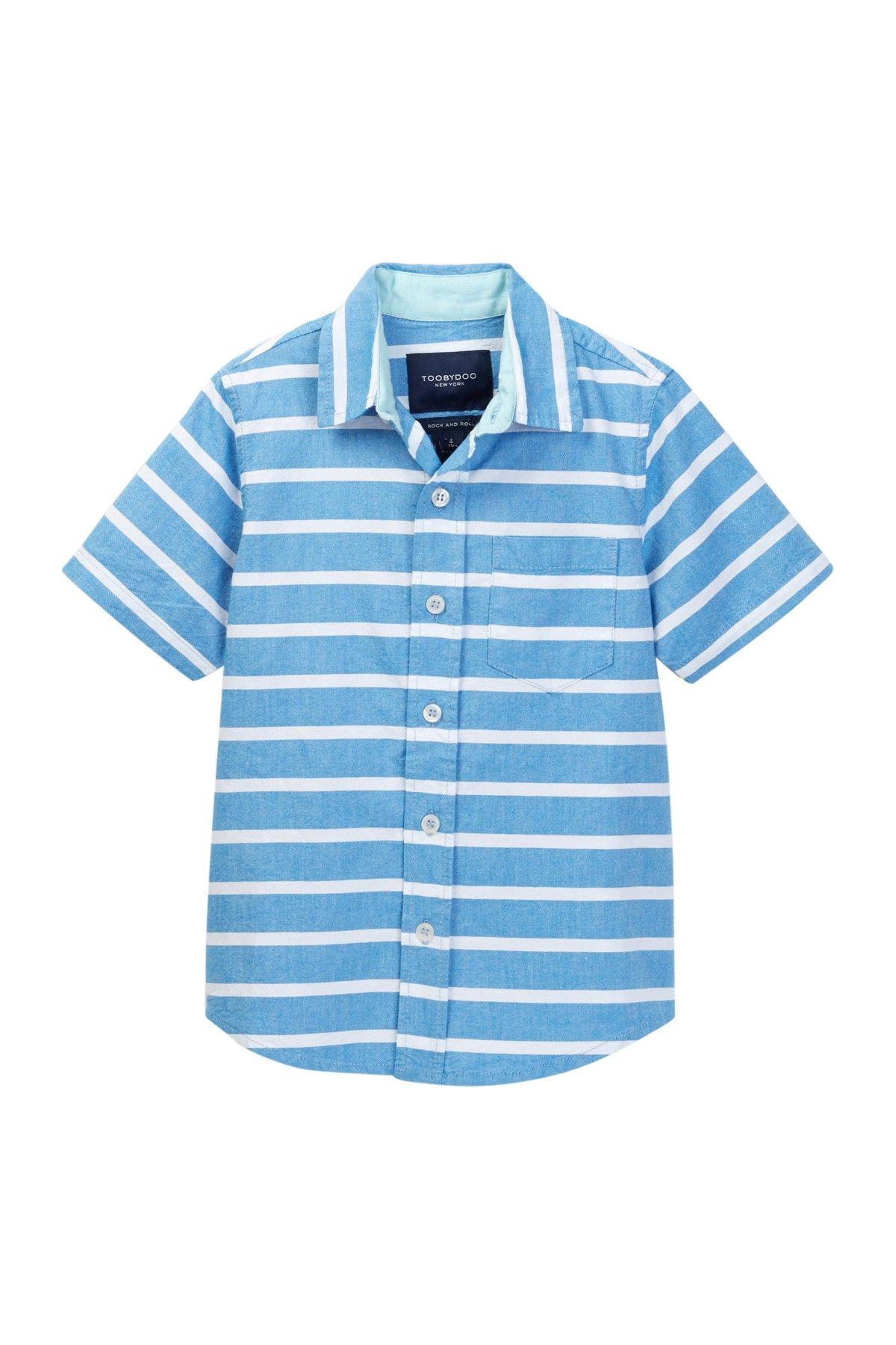 Roger Striped Short Sleeve Dress Shirt Toddler Little Boys Big